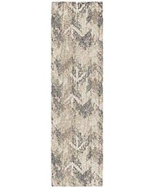 "Orian Carolina Wild Distressed Chevron Natural 2'3"" x 8' Runner Area Rug"