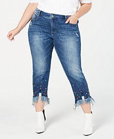 I.N.C. Plus Size Studded Ankle-Length Jeans, Created for Macy's