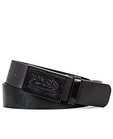 Hugo Boss Men's Icon-S Leather Plaque Belt
