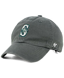 '47 Brand Boys' Seattle Mariners Charcoal CLEAN UP Strapback Cap