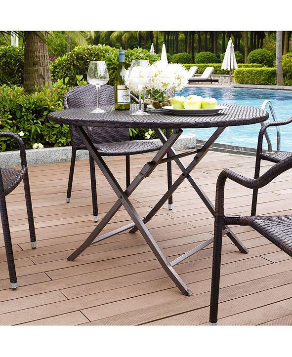 Crosley Palm Harbor Outdoor Wicker Folding Table