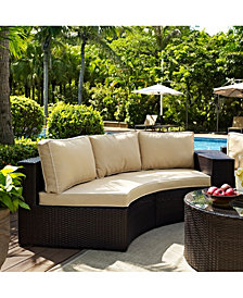 Catalina Outdoor Wicker Round Sectional Sofa With Cushions