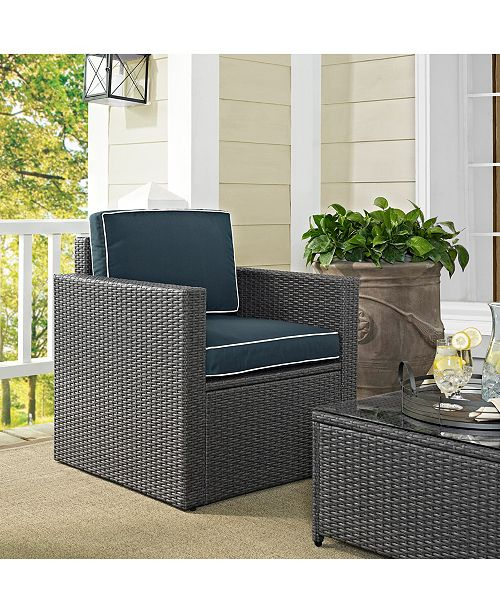 Crosley Palm Harbor Outdoor Arm Chair In Wicker With Cushions