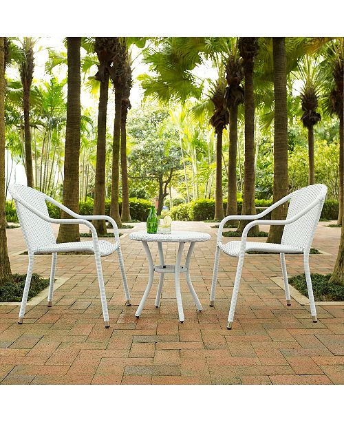 Crosley Palm Harbor 3 Piece Outdoor Wicker Cafe Seating Set - 2 Stacking Chairs And Round Side Table