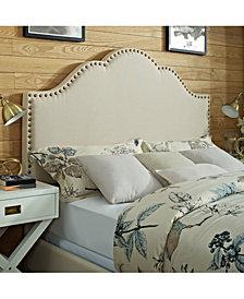 Preston Camelback Upholstered Full And Queen Headboard In Linen