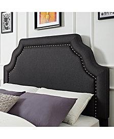 Loren Keystone Upholstered Full And Queen Headboard In Linen