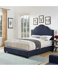 Preston Camelback Upholstered King Bedset In Linen