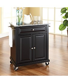 Solid Granite Top Portable Kitchen Cart Island
