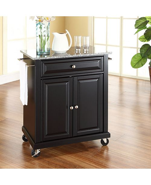 Solid Granite Top Portable Kitchen Cart Island