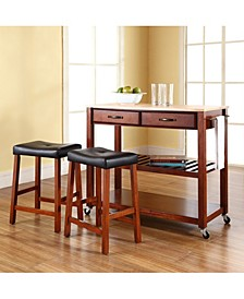 """Natural Wood Top Kitchen Cart Island With 24"""" Upholstered Saddle Stools"""