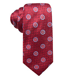 Tasso Elba Men's Blooming Flower Medallion Silk Tie, Created for Macy's
