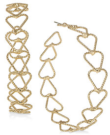 Thalia Sodi Gold-Tone Twist Open Heart Hoop Earrings, Created for Macy's