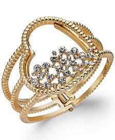 Thalia Sodi Gold-Tone Pavé Heart Cuff Bracelet, Created for Macy's