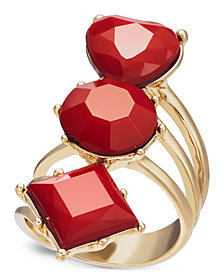 Thalia Sodi Gold-Tone & Red Heart Tri-Stone Ring, Created for Macy's