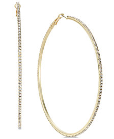 "Thalia Sodi Extra Large Gold-Tone Crystal Hoop Earrings, 3.5"", Created for Macy's"
