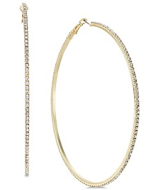 "Thalia Sodi Extra Large Gold-Tone Crystal Hoop Earrings, 3.5"", Created for Macy's"