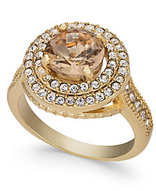Charter Club Gold-Tone Champagne Stone Halo Ring, Created for Macy's