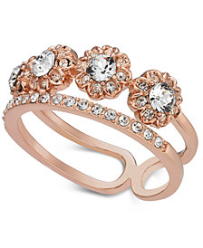 Charter Club Rose Gold-Tone Crystal Two-Row Band Ring, Created for Macy's
