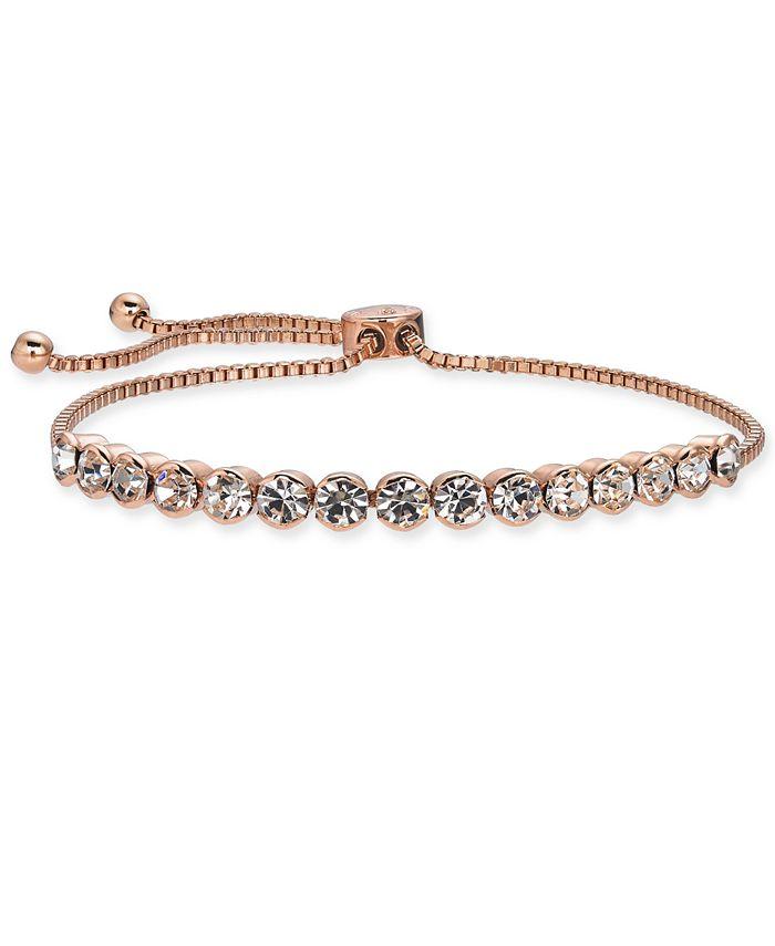 Charter Club - Rose Gold-Tone Crystal Slider Bracelet