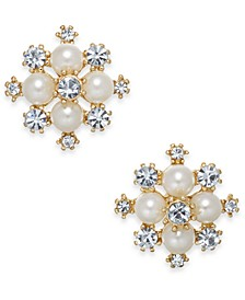 "Extra Small Gold-Tone Crystal & Imitation Pearl Snowflake Stud Earrings, .5"", Created for Macy's"