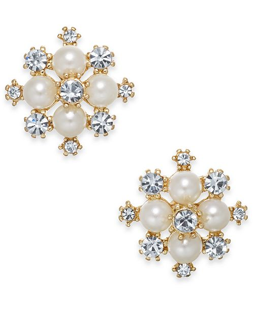 """Charter Club Extra Small Gold-Tone Crystal & Imitation Pearl Snowflake Stud Earrings, .5"""", Created for Macy's"""