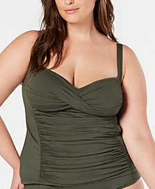 La Blanca Plus Size Twist-Front Ruched Tankini Top