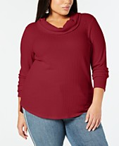 a69714d577f Style   Co Plus Size Waffle-Knit Cowl-Neck Top