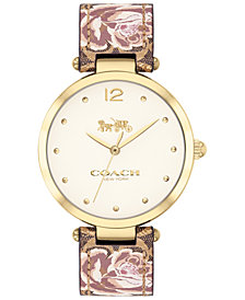 COACH Women's Park Khaki Floral Leather Strap Watch 34mm