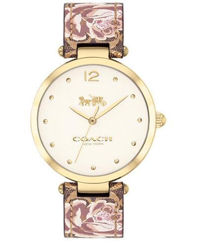 COACH Women's Park Khaki Floral Leather Strap Watch 34mm