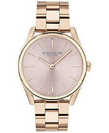 COACH Women's Preston Carnation Rose Gold-Tone Bracelet Watch 34mm