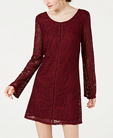 Speechless Juniors' Long-Sleeve Lace Shift Dress