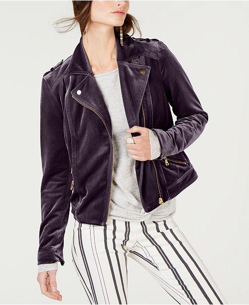 I.N.C. Velvet Moto Jacket, Created for Macy's