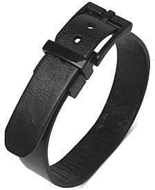 Kenneth Cole Reaction Men's Faux-Leather Buckle Bracelet