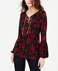 MICHAEL Michael Kors Eden Rose Lace-Up Top