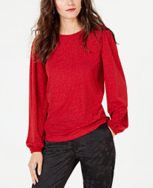 MICHAEL Michael Kors Metallic Puff-Sleeve Top