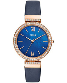 Fossil Women's Madeline Navy Leather Strap Watch 38mm