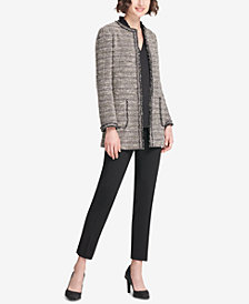 DKNY Tweed Jacket, Skinny Pants & Ruffled Top, Created for Macy's