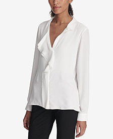 DKNY Ruffle-Front Top, Created for Macy's