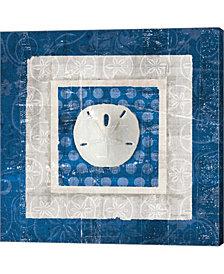Sea Shell I on Blue by Belinda Aldrich Canvas Art