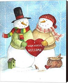 Warm Welcome Snowman by Melinda Hipsher Canvas Art