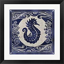 Ink Seahorse By Edward Selkirk Framed Art