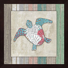 Sea Side Boho Frame - Turtle By Lightboxjournal Framed Art