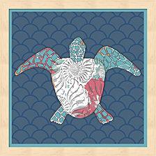 Sea Side Boho Sq - Turtle By Lightboxjournal Framed Art