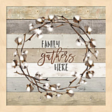 Family Gathers Here Cotton Wreath By Marla Rae Framed Art