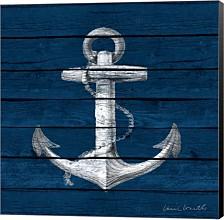 Anchor On Blue Wood By Lanie Loreth Canvas Art