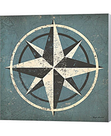 Nautical Compass Blu By Ryan Fowler Canvas Art