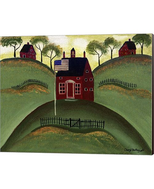 Metaverse Red School House Barn By Cheryl Bartley Canvas Art