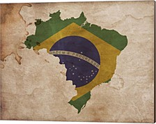 Map With Flag Overlay Brazil By Color Me Happy Canvas Art