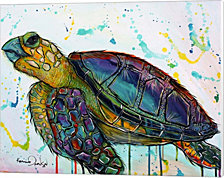 Sea Turtle Paint Splotches By Karrie Evenson Canvas Art