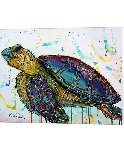 Metaverse Sea Turtle Paint Splotches By Karrie Evenson Canvas Art